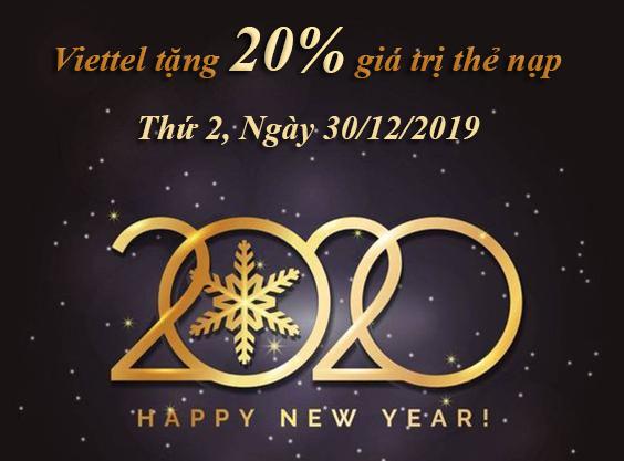 Chúc mừng năm mới 2020, Viettel khuyến mãi 20% giá trị thẻ nạp