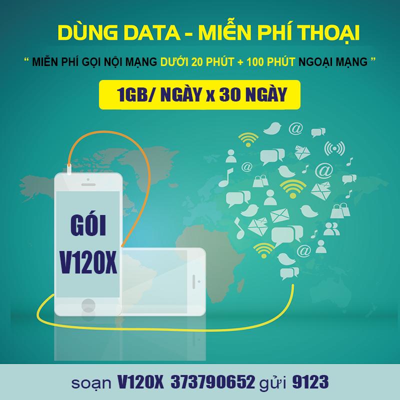 Đăng ký gói cước V120X Viettel có 30GB Data & gọi thoại thả ga