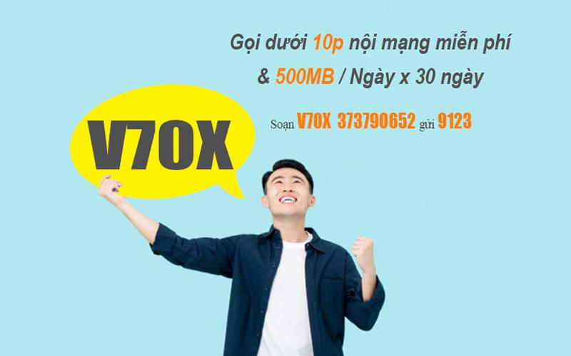 Đăng ký gói V70X Viettel 500MB/ngày & gọi nội mạng dưới 10 phút Free