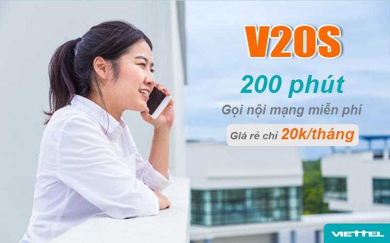 Gói V20S của Viettel miễn phí 200 phút gọi nội mạng / tháng