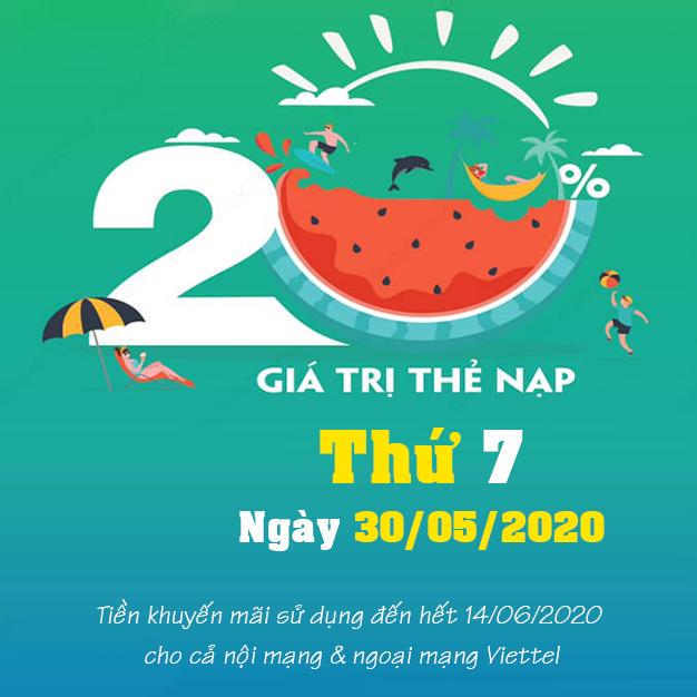 Khuyến mãi Viettel tặng 20% giá trị thẻ nạp ngày 30/05/2020