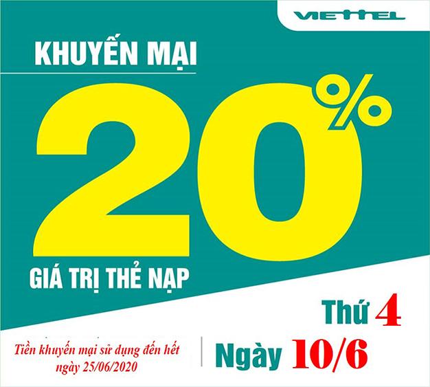 Khuyến mãi Viettel tặng 20% giá trị thẻ nạp ngày 10/06/2020
