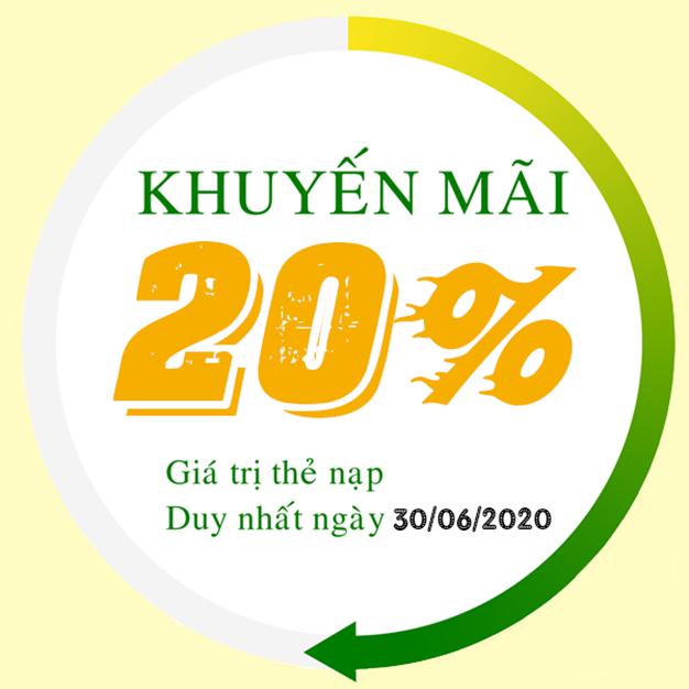 Viettel khuyến mãi tặng 20% giá trị thẻ nạp ngày 30/06/2020
