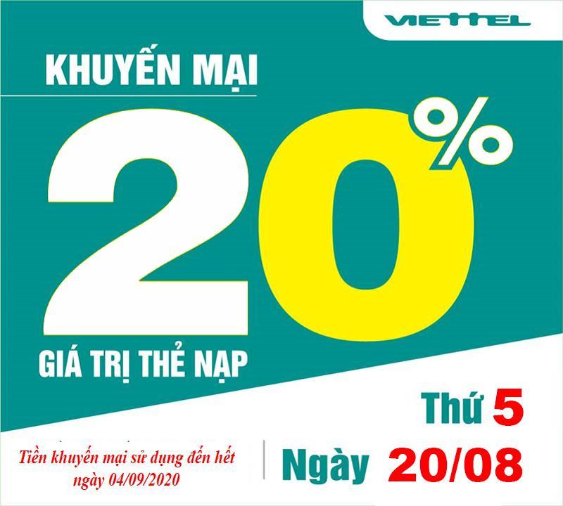 Viettel khuyến mãi 20% giá trị thẻ nạp vào một ngày duy nhất 20/08/2020