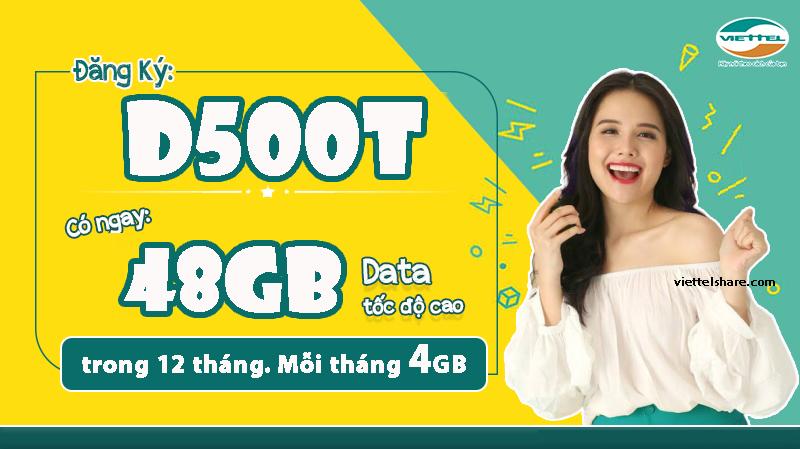 Gói cước D500T Viettel khuyến mãi Data trọn gói lên mạng suốt cả năm