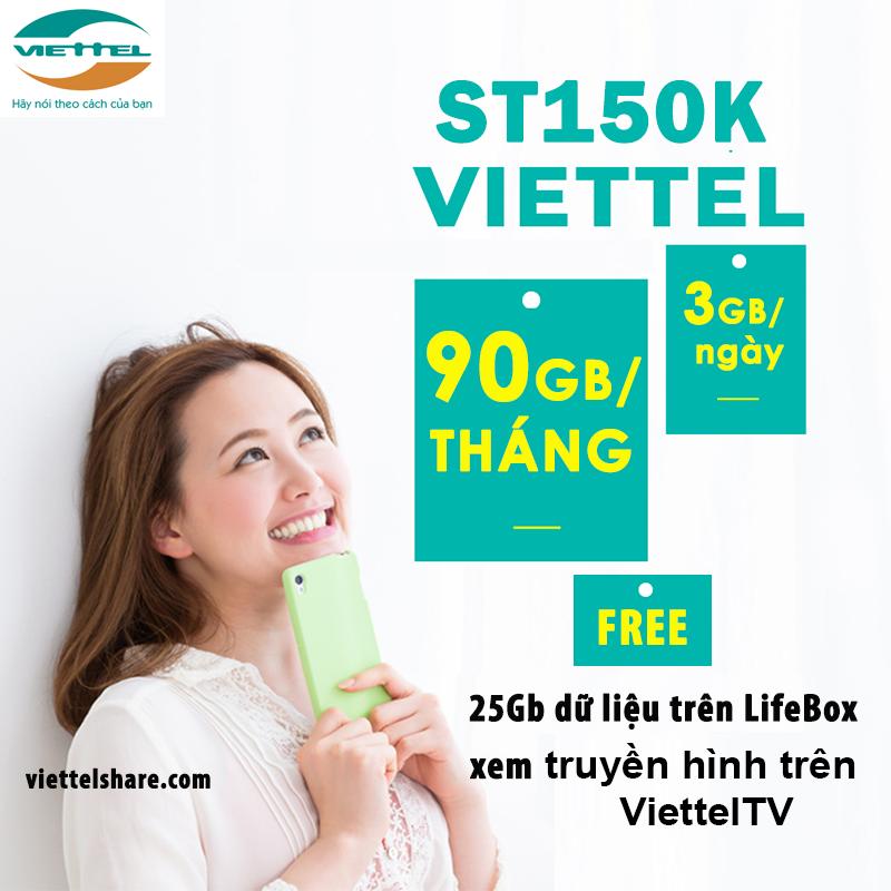 Đăng ký ST150K Viettel nhận ưu đãi 3GB mỗi ngày suốt cả tháng