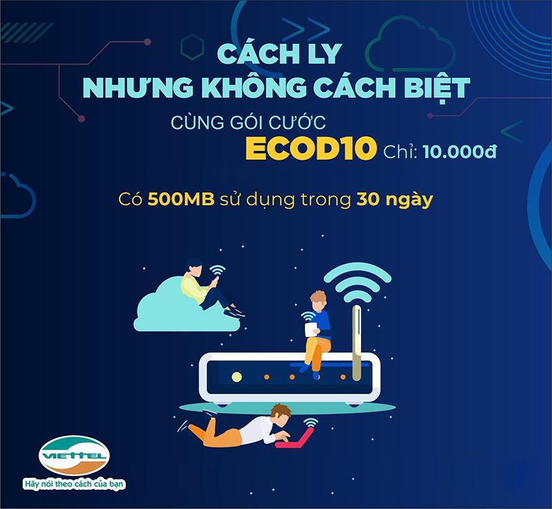Gói cước ECOD10 Viettel miễn phí 500MB giá 10k/tháng