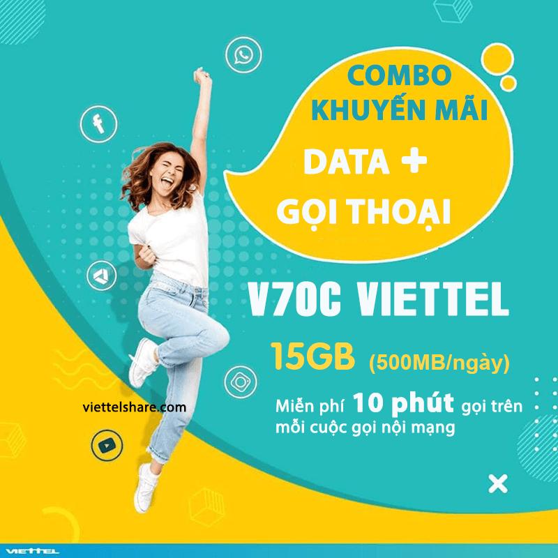 V70C Viettel vừa ưu đãi 15GB/tháng vừa khuyến mãi nội mạng