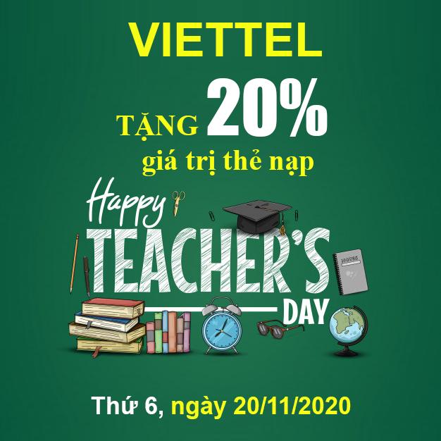 Khuyến mãi Viettel tặng 20% giá trị thẻ nạp ngày vàng 20/11/2020