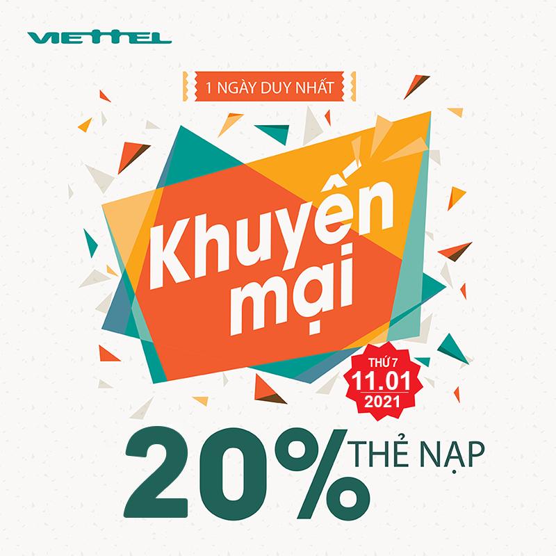 Khuyến mãi Viettel tặng 20% giá trị thẻ nạp ngày 11/01/2021