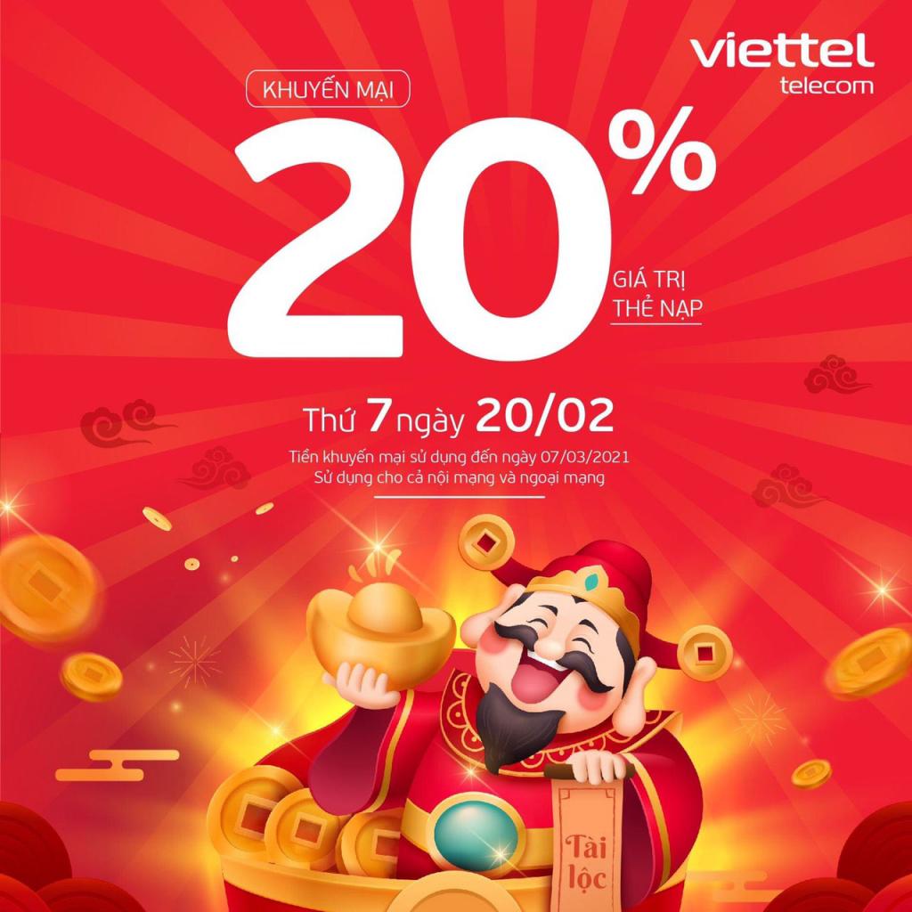 Khuyến mãi Viettel tặng 20% giá trị thẻ nạp ngày 20/02/2021