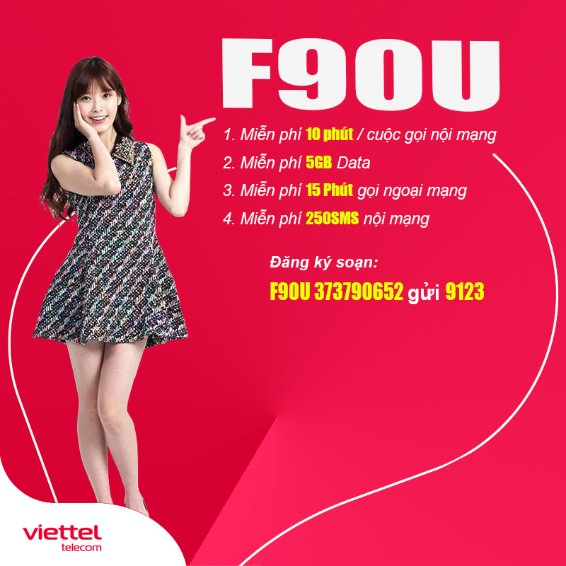 Gói Cước F90U Viettel Giá 90.000đ KM 5GB, Miễn Phí Gọi Nội Mạng
