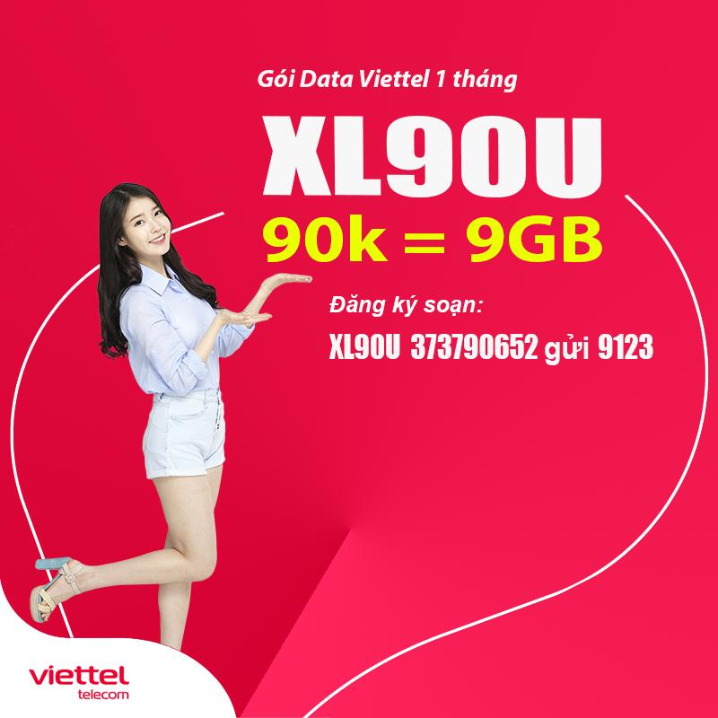 Đăng ký gói XL90U Viettel nhận ngya 9GB thoải mái truy cập internet