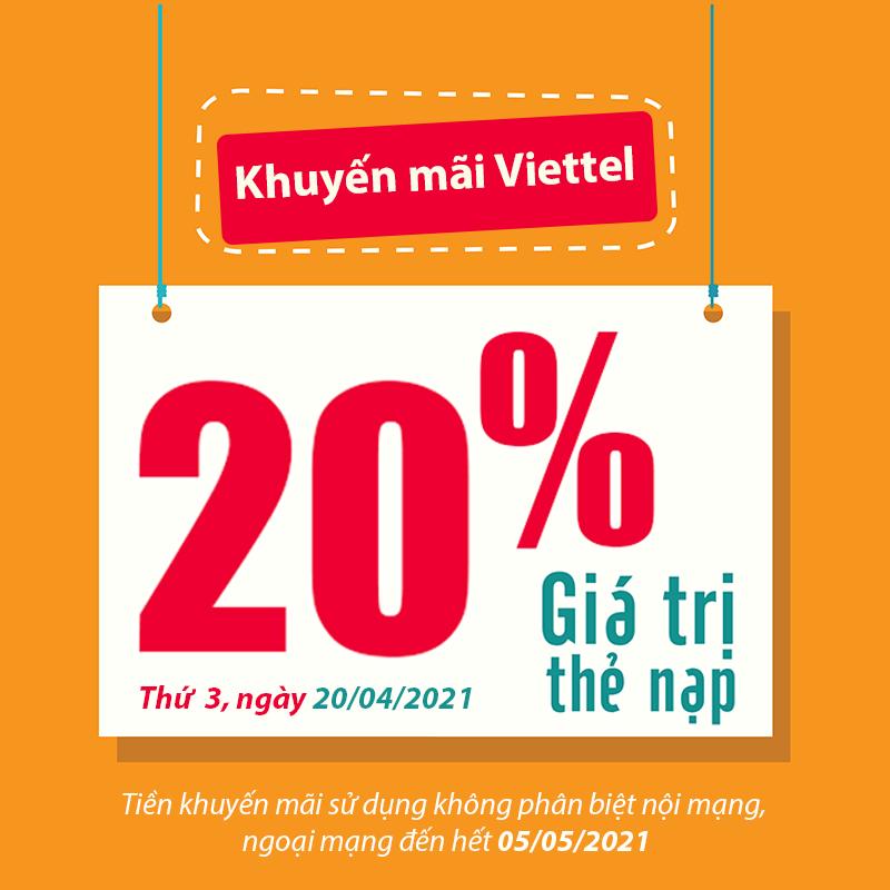 Viettel khuyến mãi tặng 20% giá trị thẻ nạp ngày 20/04/2021
