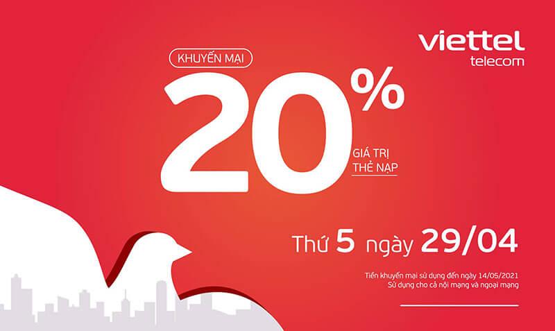 Viettel khuyến mãi tặng 20% giá trị thẻ nạp ngày 29/04/2021