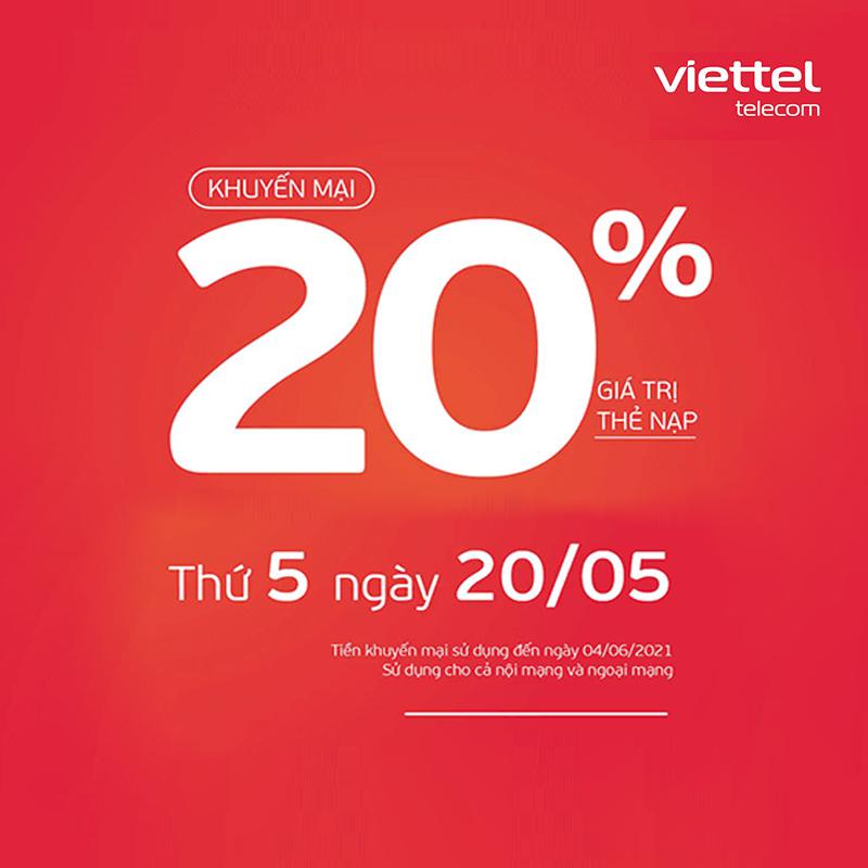 Viettel khuyến mãi tặng 20% giá trị thẻ nạp ngày 20/05/2021
