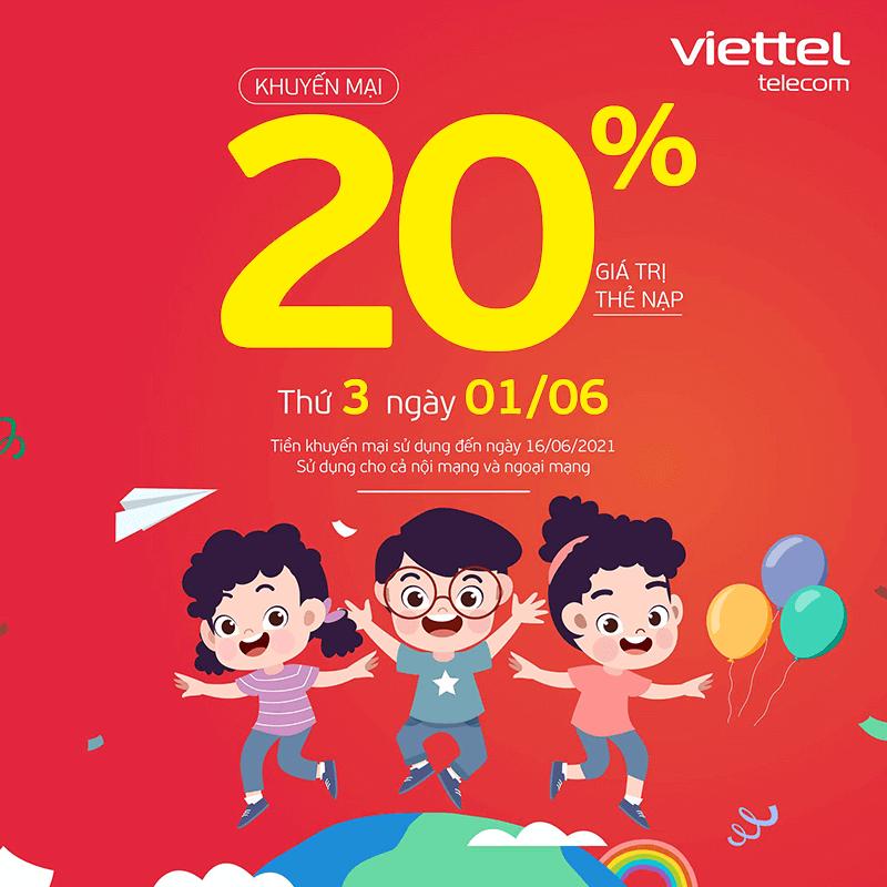 Viettel khuyến mãi tặng 20% giá trị thẻ nạp ngày 01/06/2021