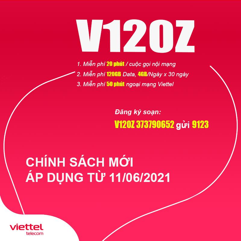 Gói V120Z Viettel thay đổi chính sách mới từ 11/06/2021