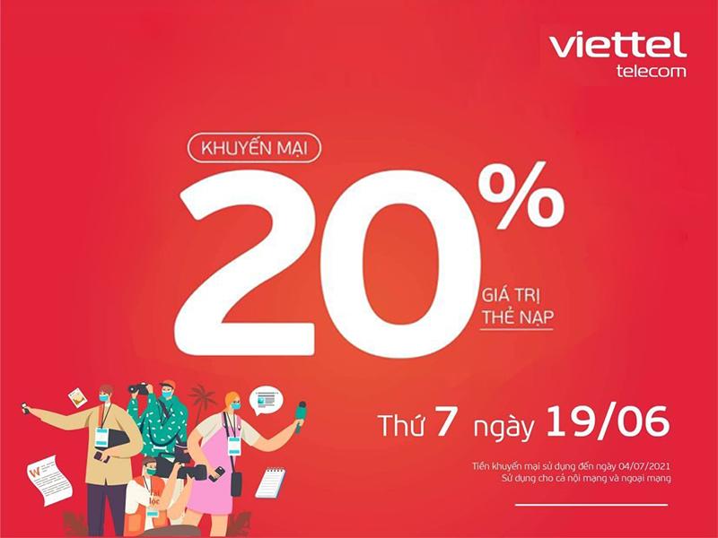 Viettel khuyến mãi tặng 20% giá trị thẻ nạp ngày 19/06/2021