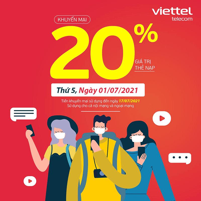 Viettel khuyến mãi tặng 20% giá trị thẻ nạp ngày Vàng 01/07/2021