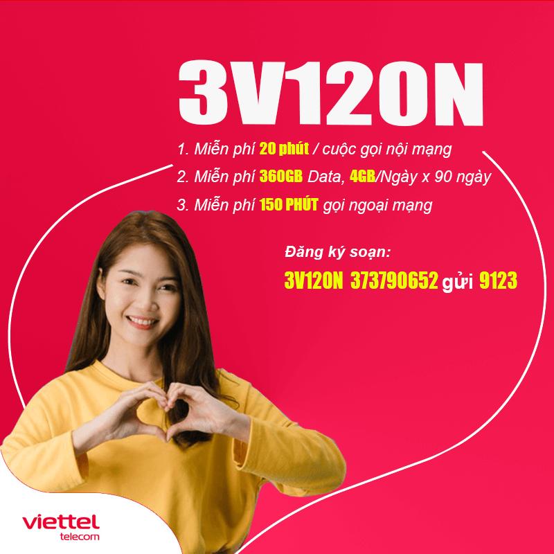 Đăng ký gói 3V120N Viettel 4GB/ngày, Gọi Nội Mạng Miễn Phí 3 Tháng