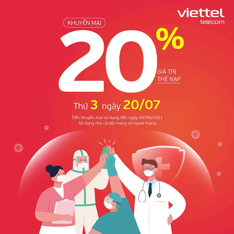 Viettel khuyến mãi tặng 20% giá trị thẻ nạp ngày duy nhất 20/07/2021
