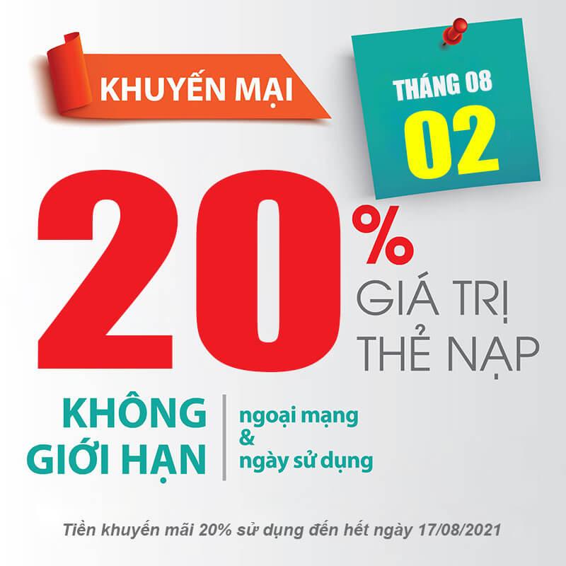 Viettel khuyến mãi tặng 20% giá trị thẻ nạp ngày duy nhất 02/08/2021