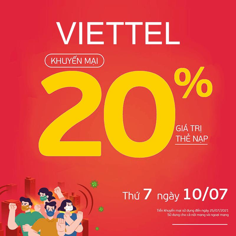 Viettel khuyến mãi tặng 20% giá trị thẻ nạp ngày Vàng 10/07/2021