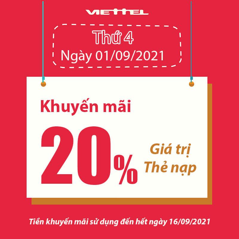 Khuyến mãi Viettel tặng 20% giá trị thẻ nạp ngày 01/09/2021