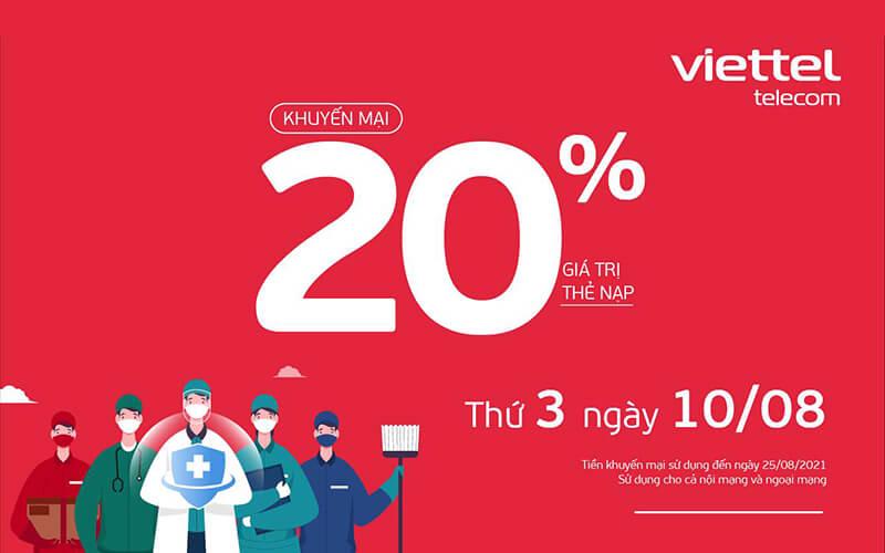 Viettel khuyến mãi tặng 20% giá trị thẻ nạp ngày duy nhất 10/08/2021