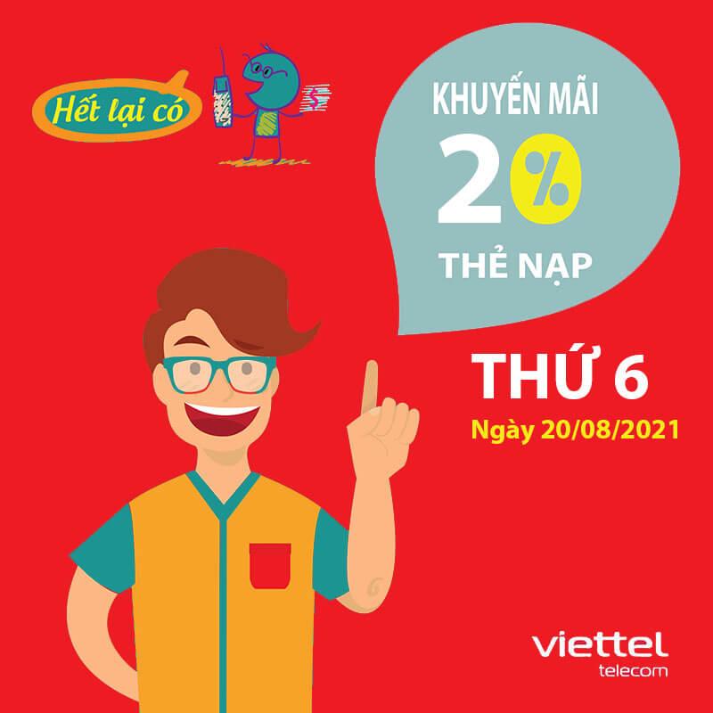 Viettel khuyến mãi tặng 20% giá trị thẻ nạp ngày duy nhất 20/08/2021