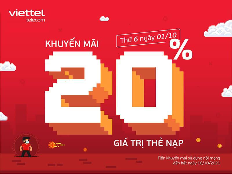Viettel khuyến mãi tặng 20% giá trị thẻ nạp ngày duy nhất 20/09/2021