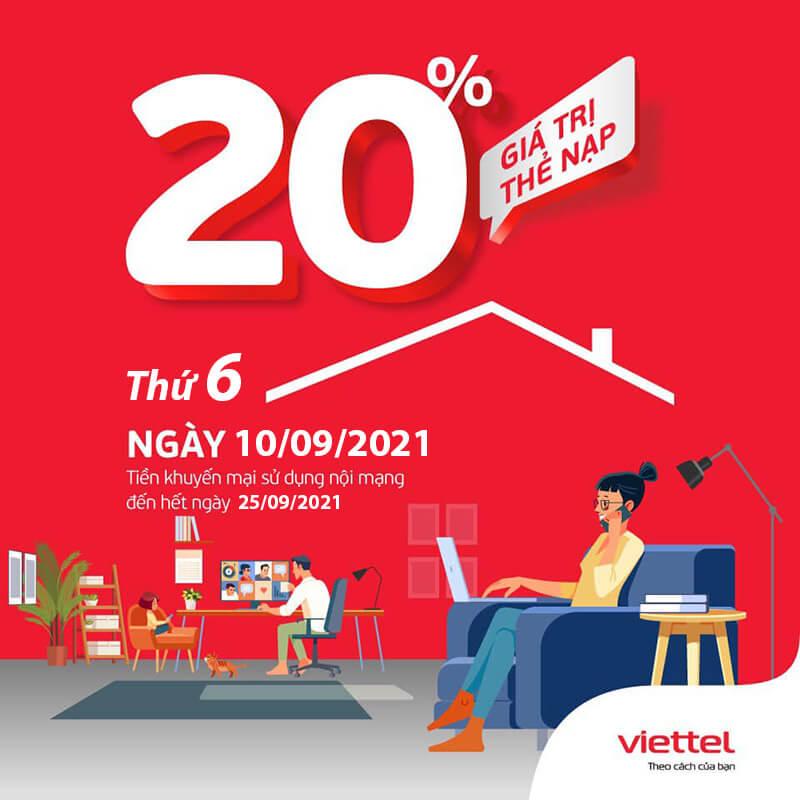Viettel khuyến mãi tặng 20% giá trị thẻ nạp ngày duy nhất 10/09/2021